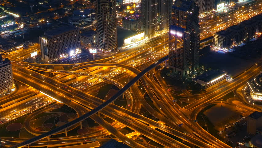 Busy traffic scene in the rush hour on Sheikh Zayed Road, Dubai's main road artery, night time lapse #27761380