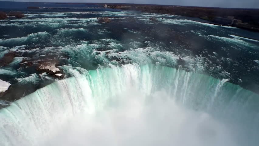Aerial view of North America's Magnificent Niagara Falls on the border of Canada