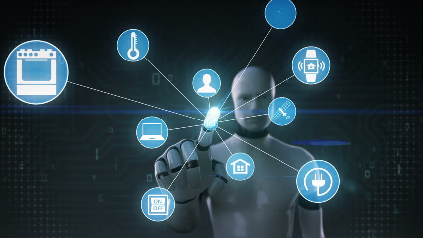 Robot, cyborg touching screen, IoT technology connect global world map. dots makes world map, internet of things | Shutterstock HD Video #27780730