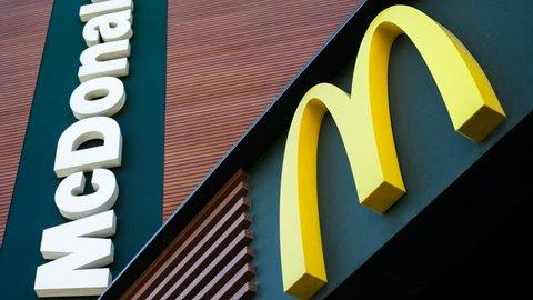 MINSK, BELARUS - May 15, 2017: McDonald's logo. McDonald's is the world's largest chain of hamburger fast food restaurants