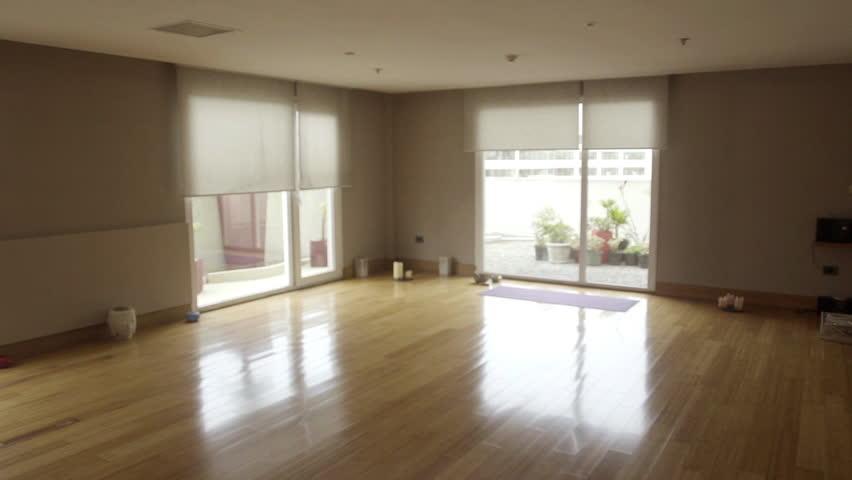 empty studio apartments. Empty yoga studio  HD stock video clip Corridor With Several Doors Of The Room In New Apartment