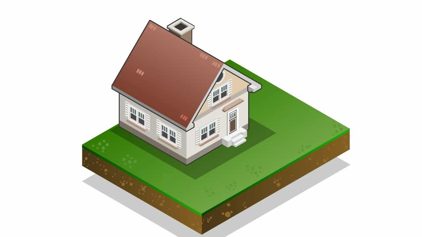 Detailed Animation Of A Isometric House With Seven Energy Class Bars   HD  Stock Footage Clip