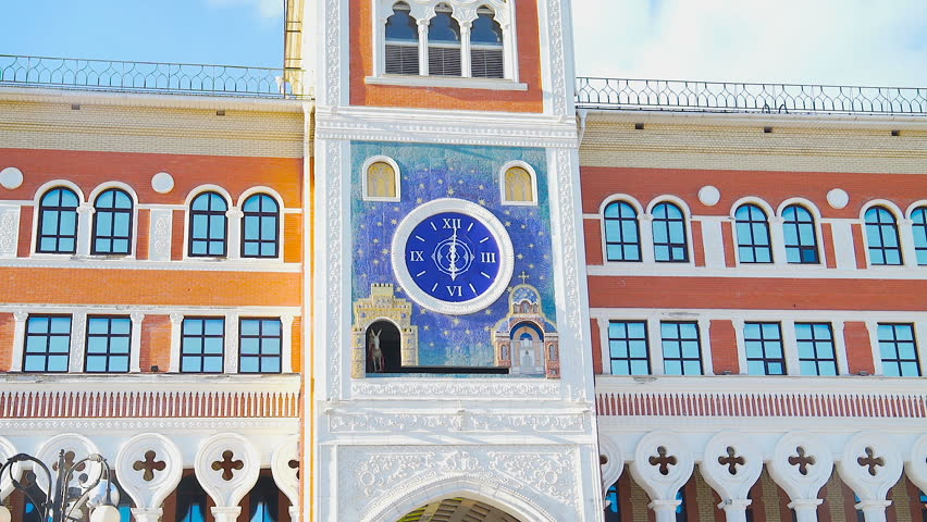 Clock . A riding donkey with an icon. Ancient style. Clock with moving icons. Yoshkar - Ola. | Shutterstock HD Video #27823960