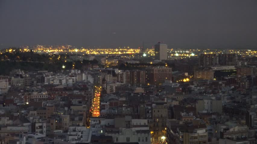 4K Aerial view of Barcelona crowded suburban area and industrial port at twilight | Shutterstock HD Video #27829990