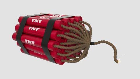 TNT bomb cartoon toon fuse burning lit timer sparks tnt explosive loop 4k