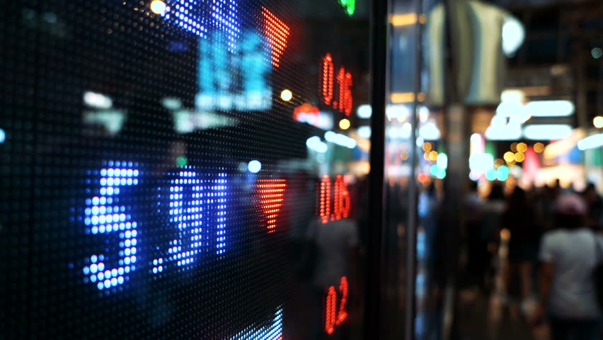 Display of Stock market quotes with city scene reflect on glass | Shutterstock HD Video #27860845
