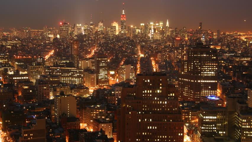 Stock Video Clip Of Midtown Manhattan Night Time Lapse