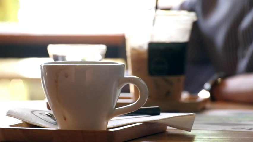 Hot Coffee in Cafe with smoke | Shutterstock HD Video #27883945