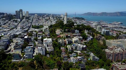 Coit Tower San Francisco aerial landscape city buildings skyline
