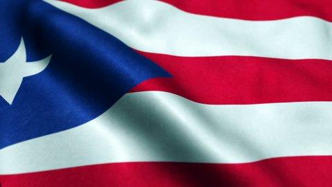 animated flag of Puerto Rico - seamless loop