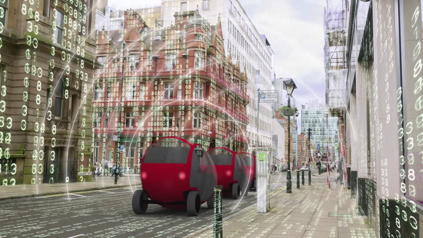 Self driving, autonomous car simulation with matrix environment. Three self driving car models composited onto a real city road  with a matrix style grid of glowing numbers. | Shutterstock HD Video #27905320