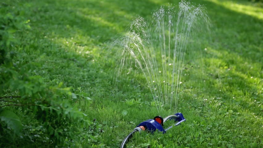 Lawn sprinkler spaying water over green grass. | Shutterstock HD Video #27917230