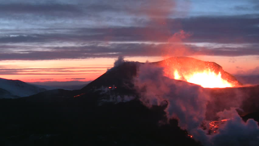 Volcanic Eruption in Iceland  2010, Eyjafjallajokull. Footage taken in extreme conditions only a half mile from the crater during frequent gas explosions from advancing lava. A mountain is born.