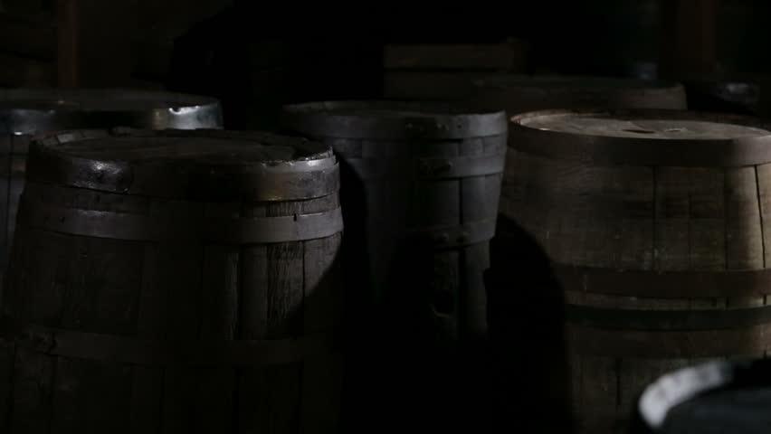 Old wine casks in the rum factory in La Habana, Cuba