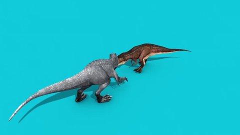 Jurassic T Rex vs Indominus Rex Front Blue Screen 3D Rendering Animation