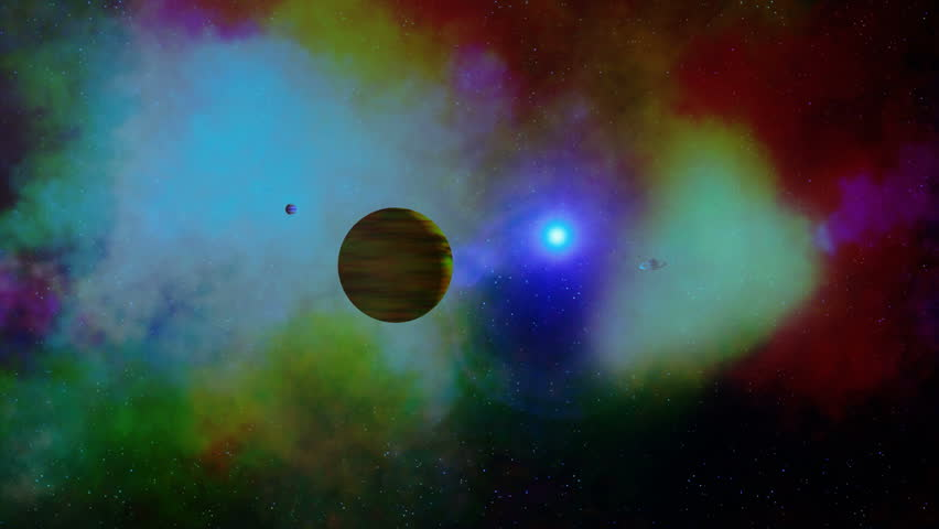 Alien Solar System. Camera flies into an alien solar system with a blue sun, past a gas planet with moon, and continues to an earth-like planet with a ring system and two moons.
