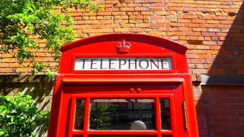 4K Zoom-In Iconic London Red Telephone Box, Traditional British, Phone Booth