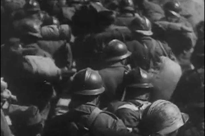 1940s: Hundreds of captured Allied soldiers are walked through Dunkirk in 1940.