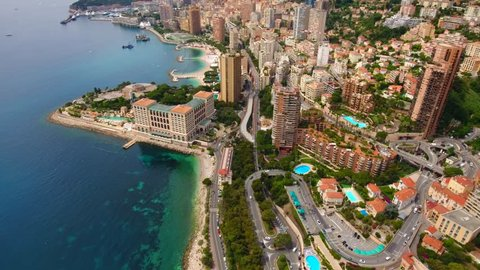 Monaco Aerial  Flying towards  downtown.