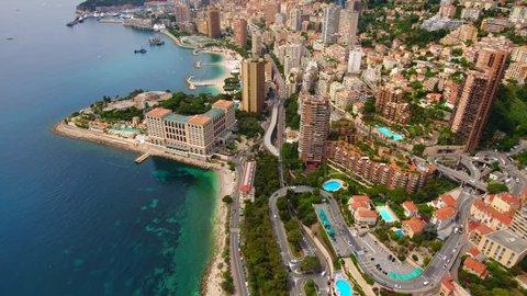 Monaco Aerial  Flying towards  downtown.