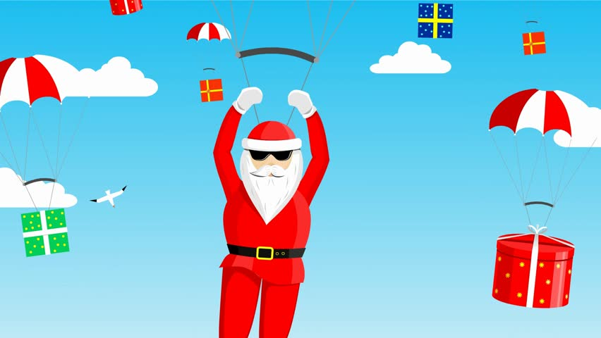 Animated cartoon blue sky with white clouds 11381252 santa claus is swimming on a yacht lying on the deck with a bunch of gift negle Images