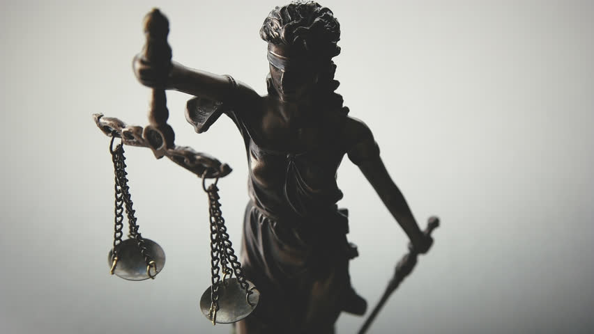 the statue of justice - lady justice or justitia goddess of Justice, Slow motion