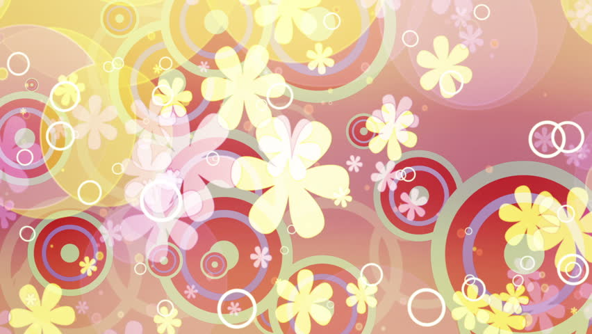 Bright Flowers Retro Looping Animated Background Two
