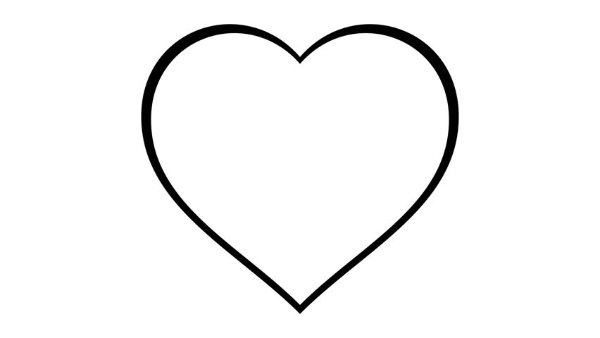 Line Art Heart Shape : Black heart shape line art sequence on white stock footage