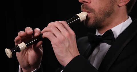 Recorder Flute Player Musician Man Playing Flutist Sing Classical Music Concert