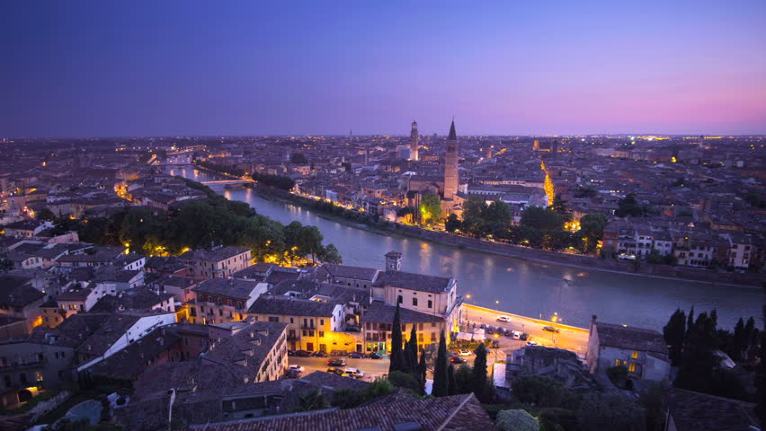 Sunset aerial view, Verona, Italy | Shutterstock HD Video #28149850