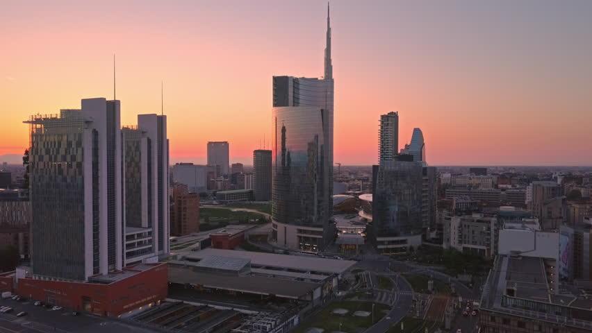 milan skyline porta nuova financial center aerial view at sunrise