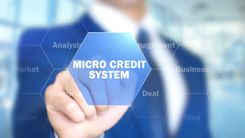 Micro Credit System, Man Working on Holographic Interface, Visual Screen