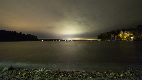 Night Cloud time lapse of a Lake, Muskoka, Ontario, Canada