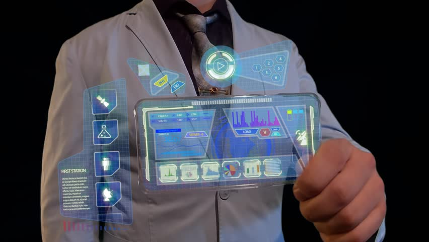 Man with a futuristic screen. The concept of the future interface on a transparent display   Shutterstock HD Video #28251829
