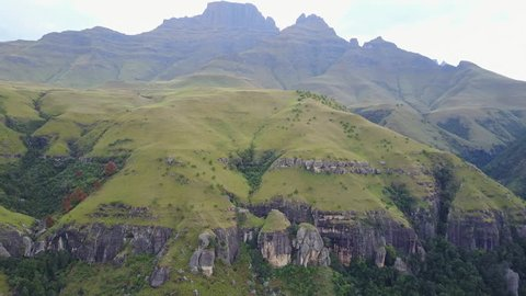 Aerial mountain landscape from the eastern portion of the Great Escarpment the Drakensberg in South Africa
