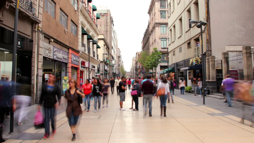 Hyperlapse Madero street downtown Mexico City. People walking in Madero street one of the most representative streets in Mexico. | Shutterstock HD Video #28297072