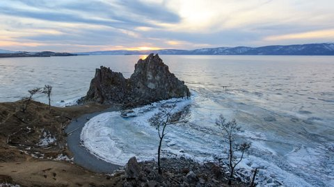 4K. Sunset on Lake Baikal. Burkhan Cape, Olkhon island, Lake Baikal, Irkutsk region, Russia, Ultra HD, 4096x2304
