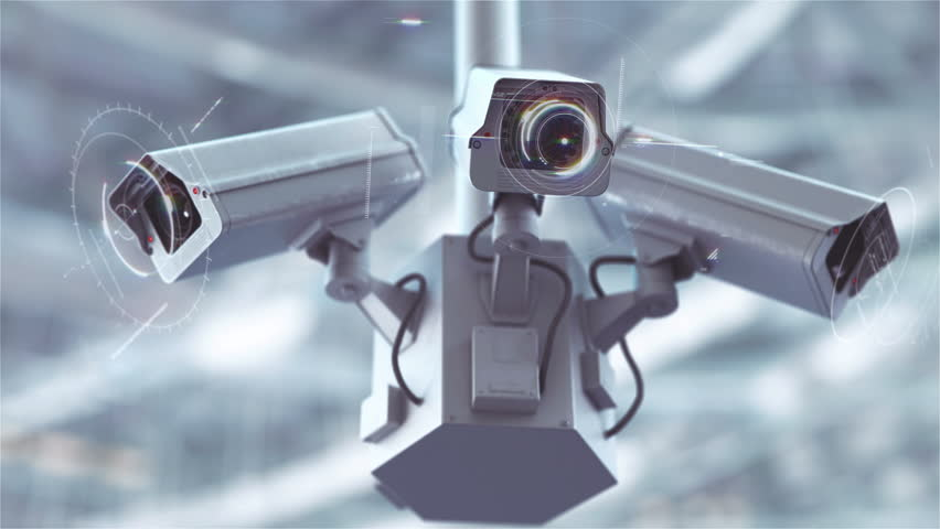Futuristic security cameras scanning the street in 4K | Shutterstock HD Video #28318900