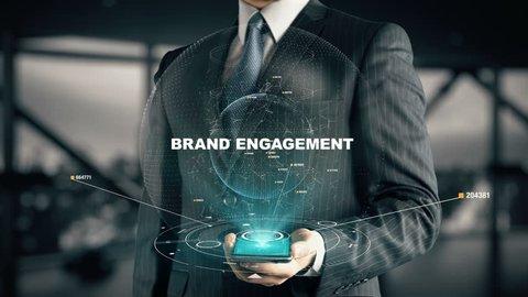 Businessman with Brand Engagement hologram concept