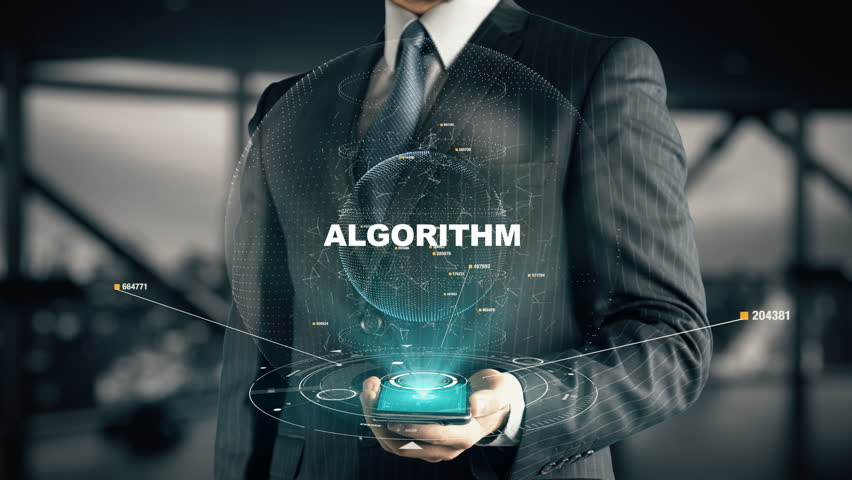 Businessman with Algorithm hologram concept