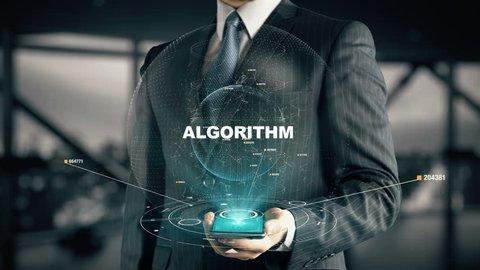 Businessman with Algorithm hologram concept