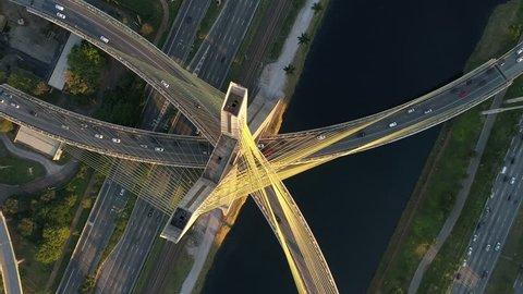 Top View of Estaiada Bridge in Sao Paulo, Brazil
