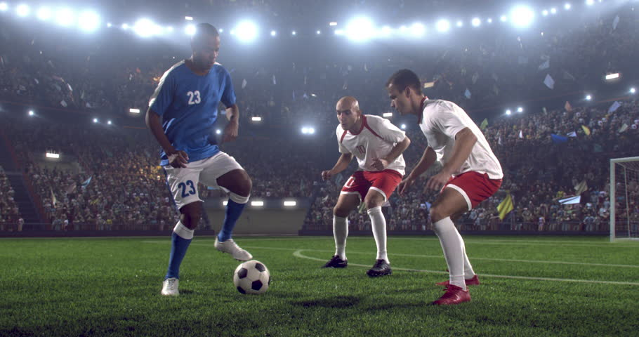 4k footage of a soccer player in dramatic play during a soccer game on a professional outdoor soccer stadium. Players wear unbranded uniform. Stadium and crowd are made in 3D.  | Shutterstock HD Video #28349410