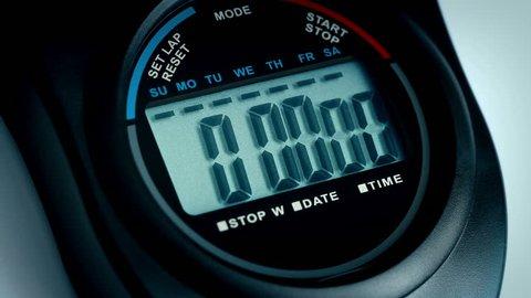 Stopwatch Counts To 10 Closeup