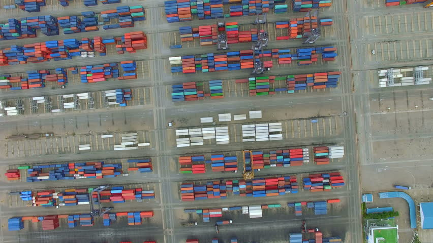 Container cargo ship, import export, business logistic supply chain transportation concept for shipping aerial view 90 degree dolly tracking shot background, 4K | Shutterstock HD Video #28373110