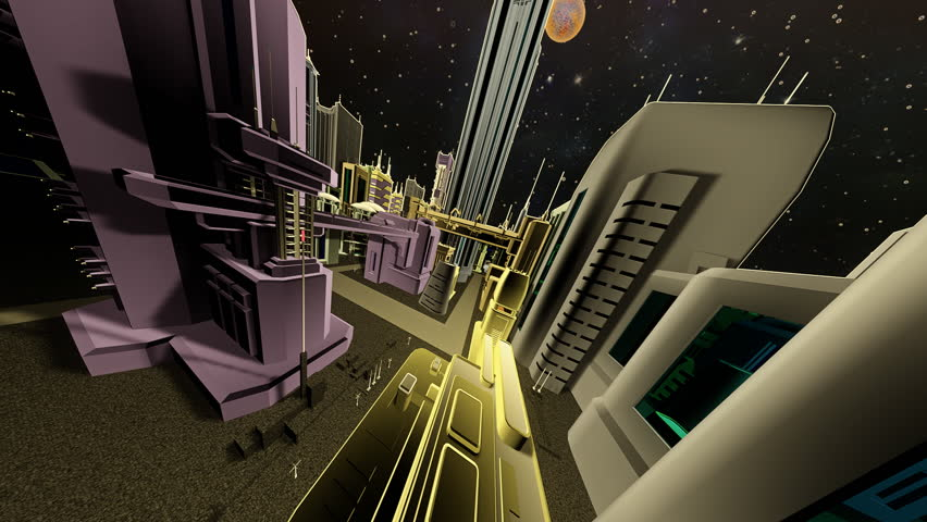 Animation 3D city. Night flight.
