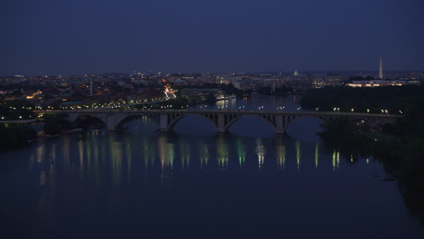 Washington, D.C. circa-2017, Flying up Potomac river at dusk. Shot with Cineflex and RED Epic-W Helium.