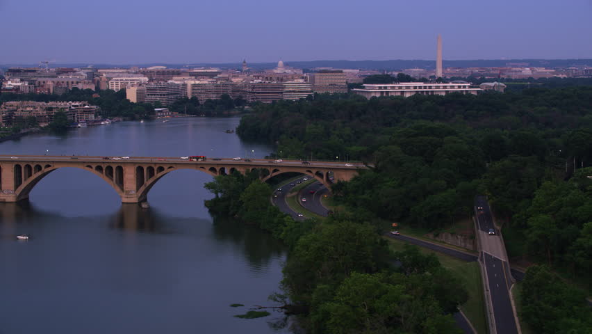 Washington, D.C. circa-2017, Flying down the Potomac River with D.C. in the distance. Shot with Cineflex and RED Epic-W Helium.