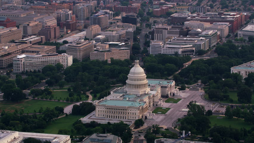 Washington, D.C. circa-2017, Aerial view of the US Capitol and surrounding buildings. Shot with Cineflex and RED Epic-W Helium.