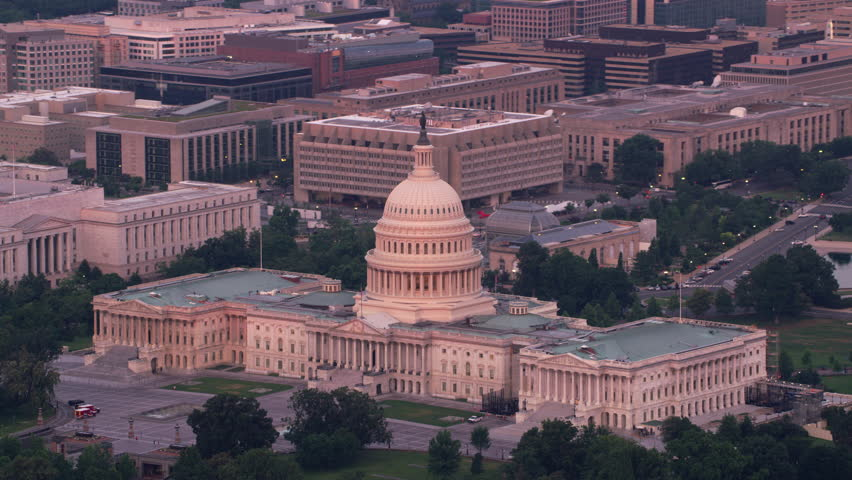 Washington, D.C. circa-2017, Aerial view of the Capitol Building in early morning light. Shot with Cineflex and RED Epic-W Helium. | Shutterstock HD Video #28499164